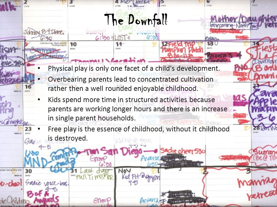 The Downfall Physical play is only one facet of a child's development. Overbearing parents lead to concentrated cultivation rather then a well rounded