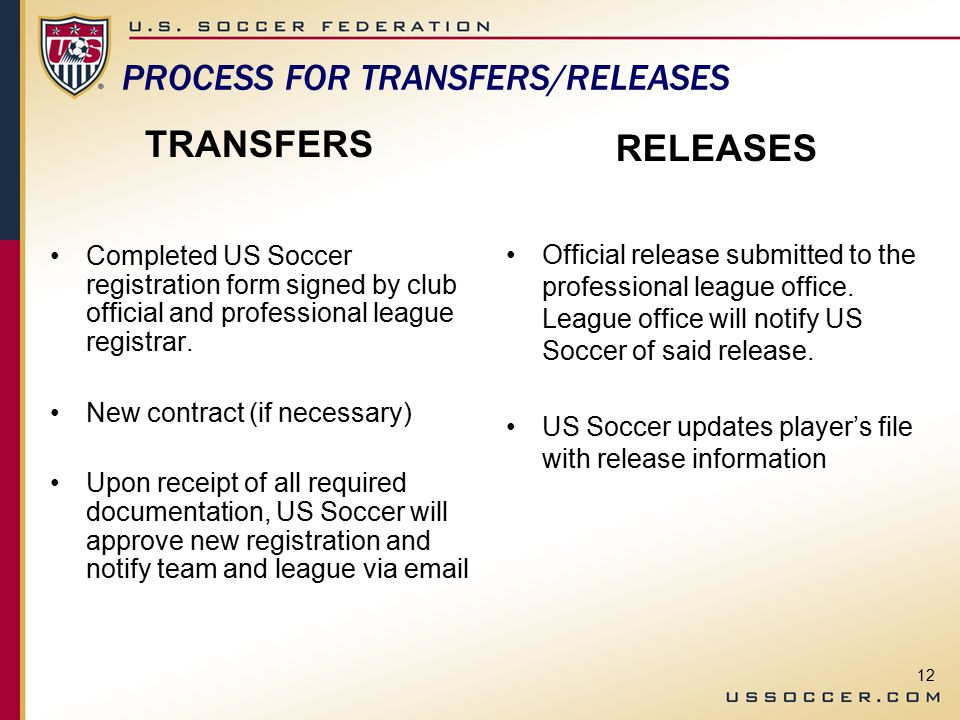 12 PROCESS FOR TRANSFERS/RELEASES TRANSFERS Completed US Soccer registration form signed by club official and professional league registrar.