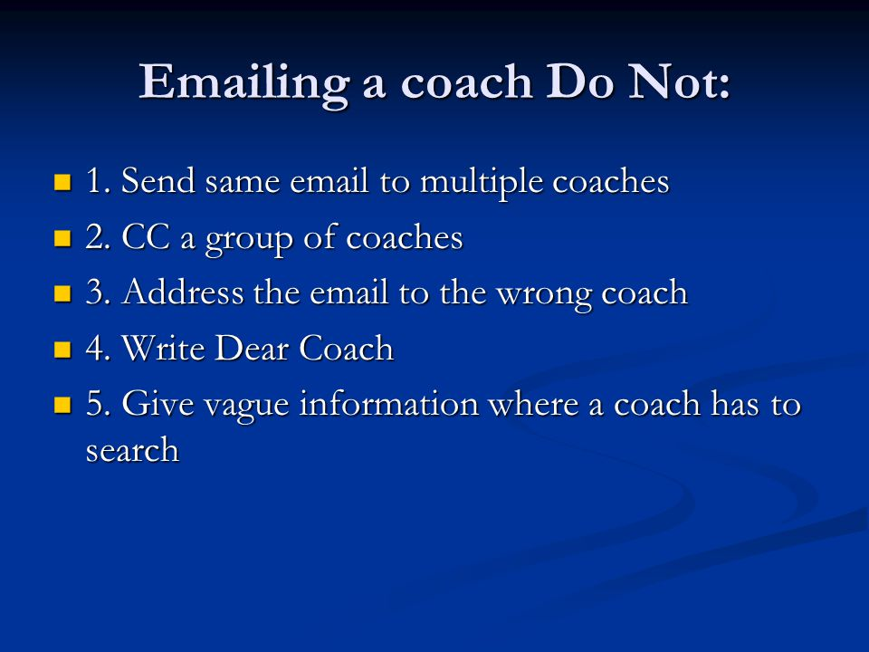 Sample Email #1 Hi Coach Marino.Hi Coach Marino.