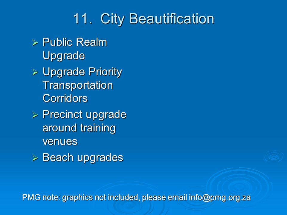 11. City Beautification  Public Realm Upgrade  Upgrade Priority Transportation Corridors  Precinct upgrade around training venues  Beach upgrades