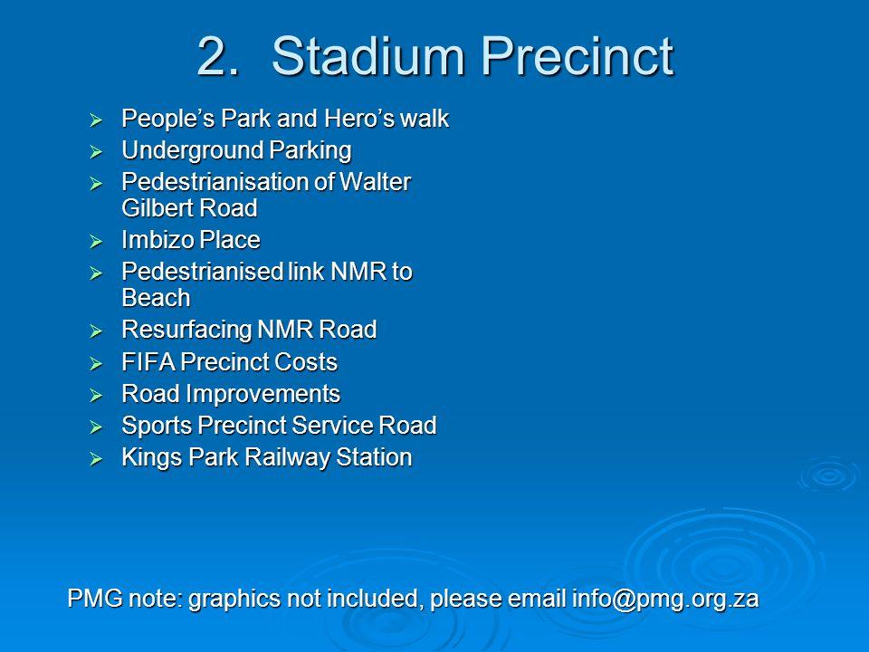 2. Stadium Precinct  People's Park and Hero's walk  Underground Parking  Pedestrianisation of Walter Gilbert Road  Imbizo Place  Pedestrianised l
