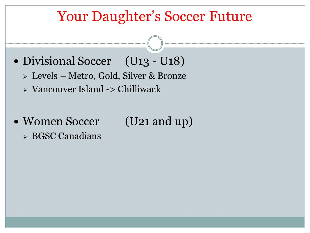 Your Daughter's Soccer Future Divisional Soccer(U13 - U18)  Levels – Metro, Gold, Silver & Bronze  Vancouver Island -> Chilliwack Women Soccer(U21 and up)  BGSC Canadians
