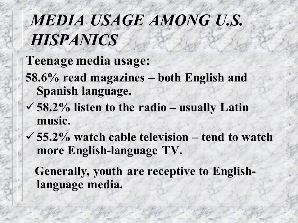 MEDIA USAGE AMONG U.S. HISPANICS Teenage media usage: 58.6% read magazines – both English and Spanish language. 58.2% listen to the radio – usually La