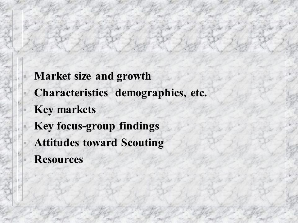  Market size and growth  Characteristics demographics, etc.