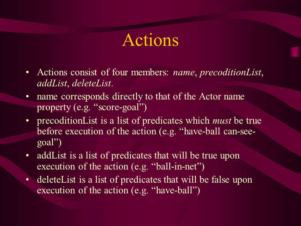 Actions Actions consist of four members: name, precoditionList, addList, deleteList.