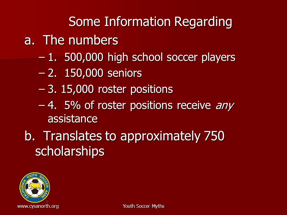 www.cysanorth.orgYouth Soccer Myths Some Information Regarding a. The numbers –1. 500,000 high school soccer players –2. 150,000 seniors –3. 15,000 ro