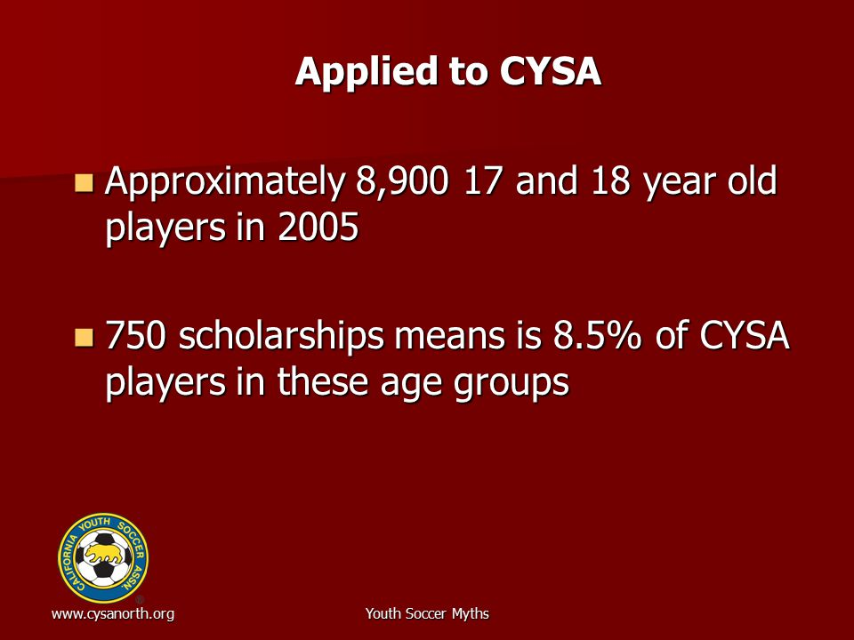 www.cysanorth.orgYouth Soccer Myths Applied to CYSA Approximately 8,900 17 and 18 year old players in 2005 Approximately 8,900 17 and 18 year old play
