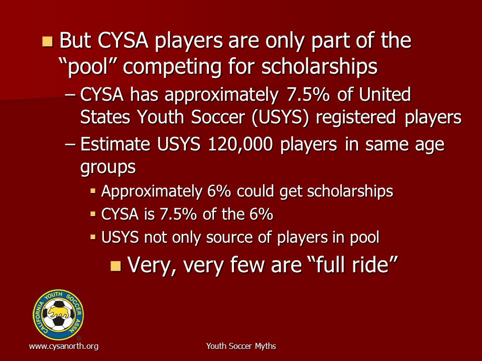 www.cysanorth.orgYouth Soccer Myths But CYSA players are only part of the pool competing for scholarships But CYSA players are only part of the pool competing for scholarships –CYSA has approximately 7.5% of United States Youth Soccer (USYS) registered players –Estimate USYS 120,000 players in same age groups  Approximately 6% could get scholarships  CYSA is 7.5% of the 6%  USYS not only source of players in pool Very, very few are full ride Very, very few are full ride