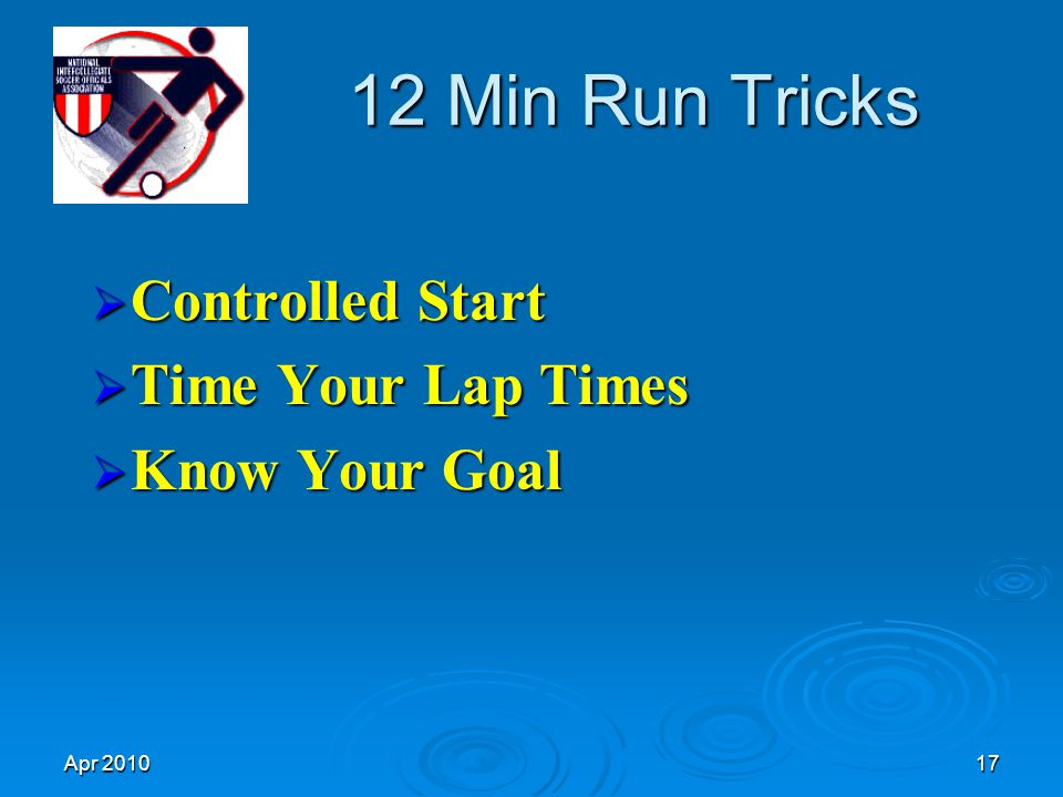 Apr 201017 12 Min Run Tricks  Controlled Start  Time Your Lap Times  Know Your Goal