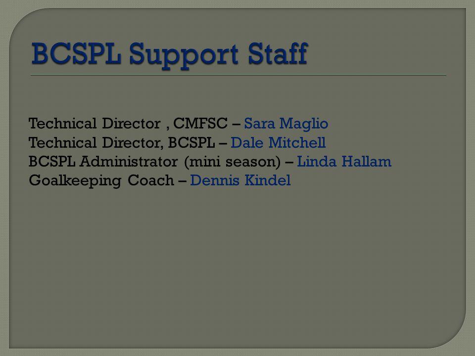 Technical Director, CMFSC – Sara Maglio Technical Director, BCSPL – Dale Mitchell BCSPL Administrator (mini season) – Linda Hallam Goalkeeping Coach –