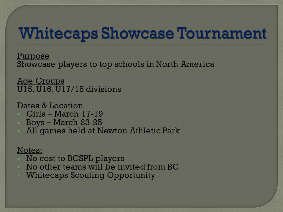Purpose Showcase players to top schools in North America Age Groups U15, U16, U17/18 divisions Dates & Location  Girls – March 17-19  Boys – March 23-25  All games held at Newton Athletic Park Notes:  No cost to BCSPL players  No other teams will be invited from BC  Whitecaps Scouting Opportunity