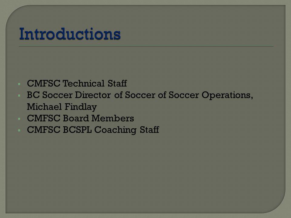  CMFSC Technical Staff  BC Soccer Director of Soccer of Soccer Operations, Michael Findlay  CMFSC Board Members  CMFSC BCSPL Coaching Staff