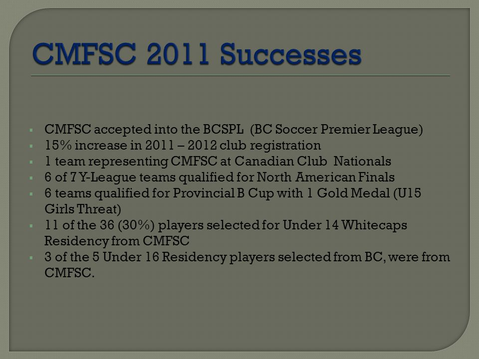  CMFSC accepted into the BCSPL (BC Soccer Premier League)  15% increase in 2011 – 2012 club registration  1 team representing CMFSC at Canadian Club Nationals  6 of 7 Y-League teams qualified for North American Finals  6 teams qualified for Provincial B Cup with 1 Gold Medal (U15 Girls Threat)  11 of the 36 (30%) players selected for Under 14 Whitecaps Residency from CMFSC  3 of the 5 Under 16 Residency players selected from BC, were from CMFSC.