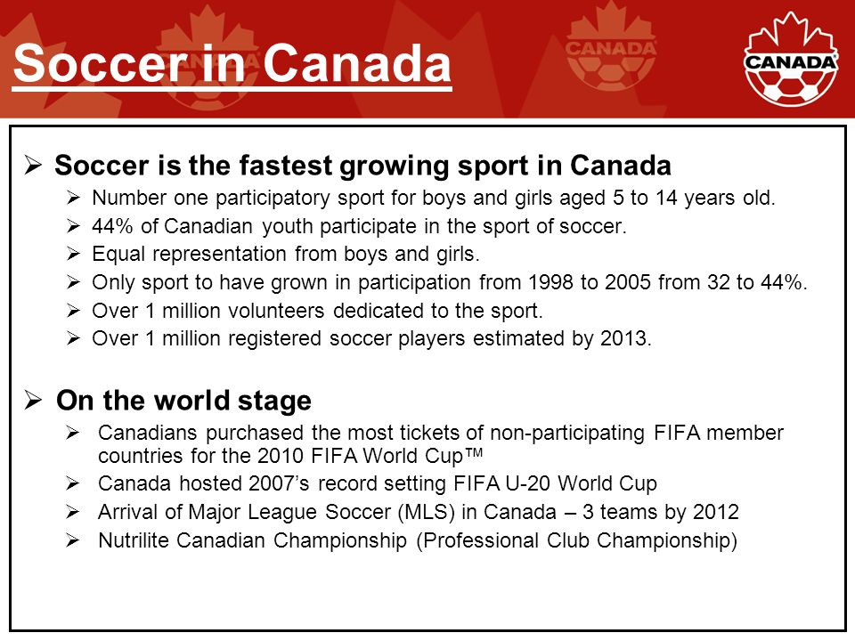  Soccer is the fastest growing sport in Canada  Number one participatory sport for boys and girls aged 5 to 14 years old.