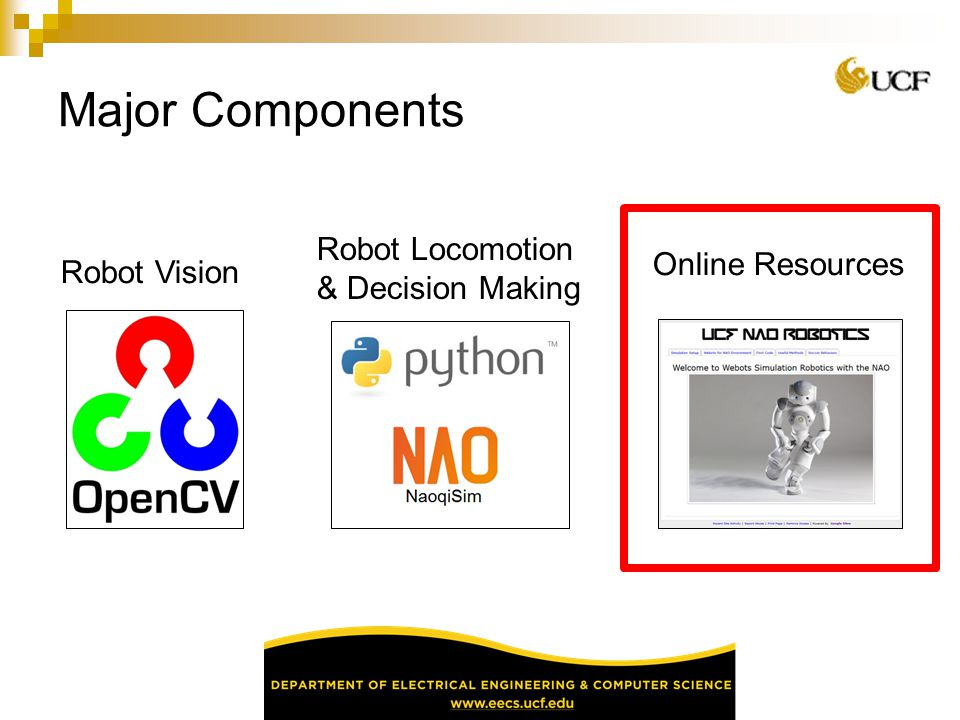 Major Components Online Resources Robot Vision Robot Locomotion & Decision Making