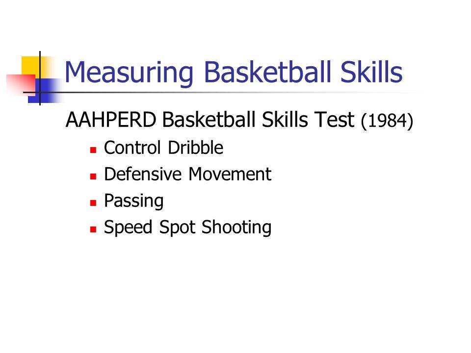 Measuring Basketball Skills AAHPERD Basketball Skills Test (1984) Control Dribble Defensive Movement Passing Speed Spot Shooting
