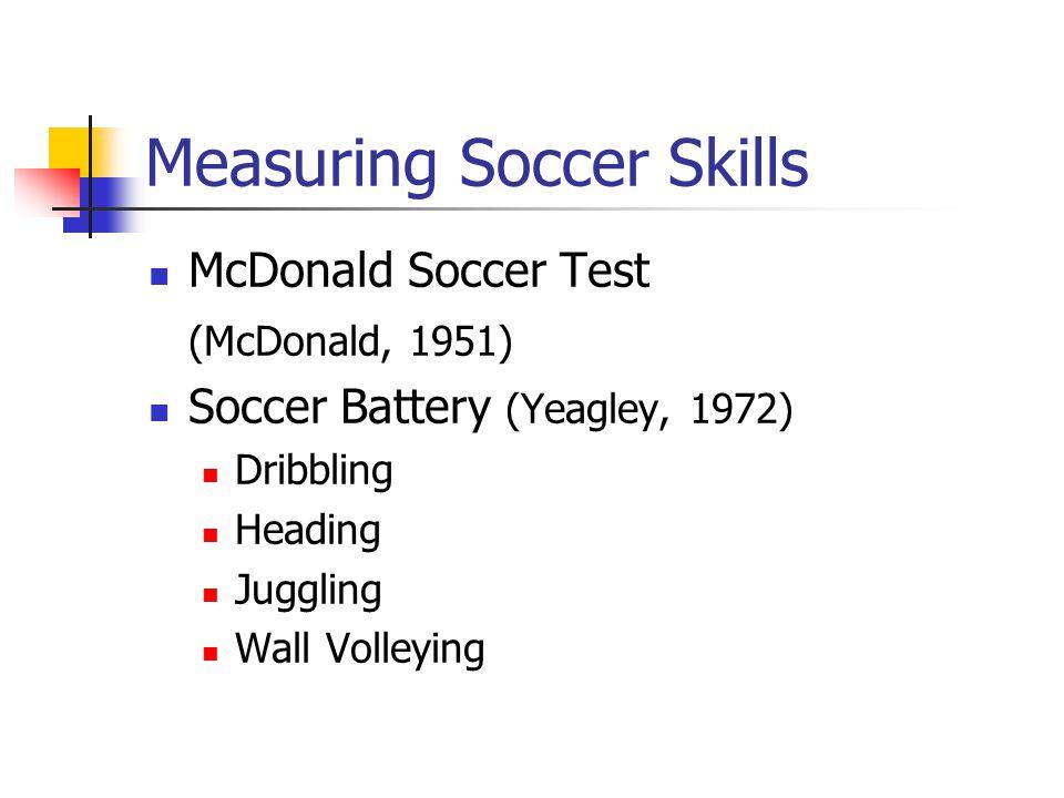 Measuring Soccer Skills McDonald Soccer Test (McDonald, 1951) Soccer Battery (Yeagley, 1972) Dribbling Heading Juggling Wall Volleying