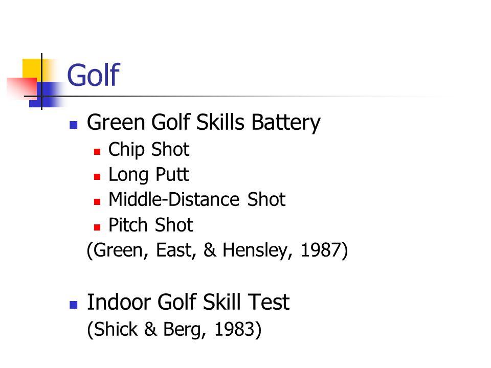 Golf Green Golf Skills Battery Chip Shot Long Putt Middle-Distance Shot Pitch Shot (Green, East, & Hensley, 1987) Indoor Golf Skill Test (Shick & Berg