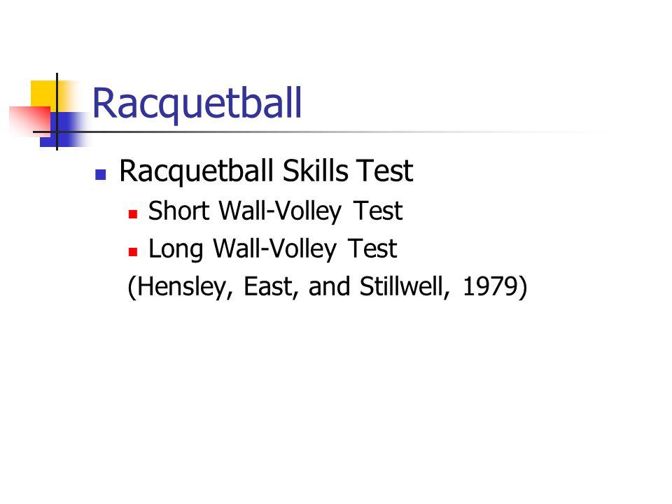 Racquetball Racquetball Skills Test Short Wall-Volley Test Long Wall-Volley Test (Hensley, East, and Stillwell, 1979)
