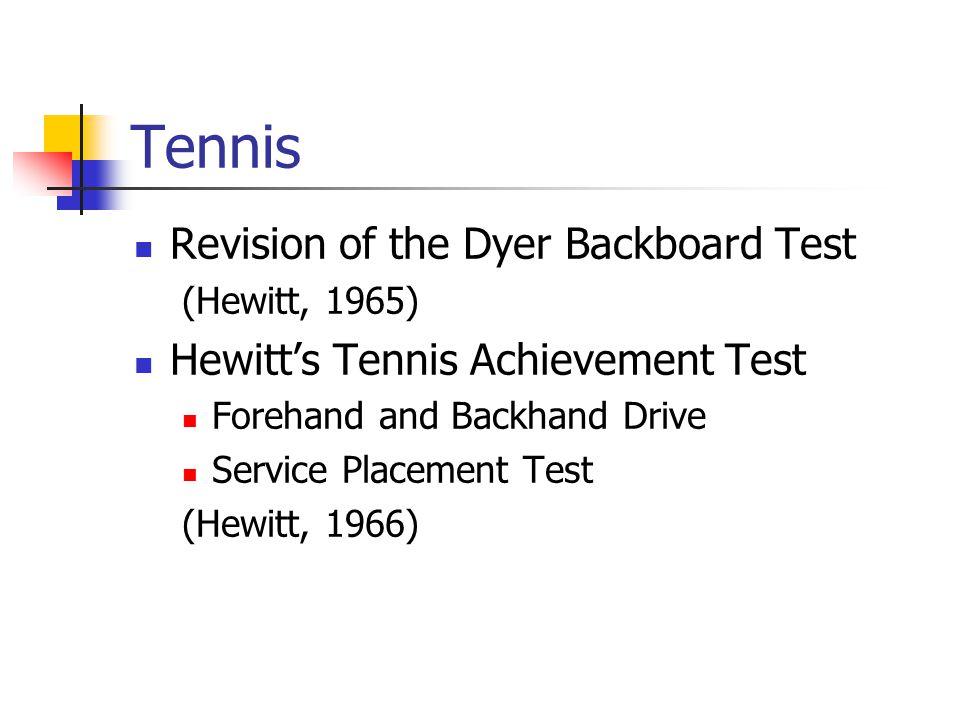 Tennis Revision of the Dyer Backboard Test (Hewitt, 1965) Hewitt's Tennis Achievement Test Forehand and Backhand Drive Service Placement Test (Hewitt,