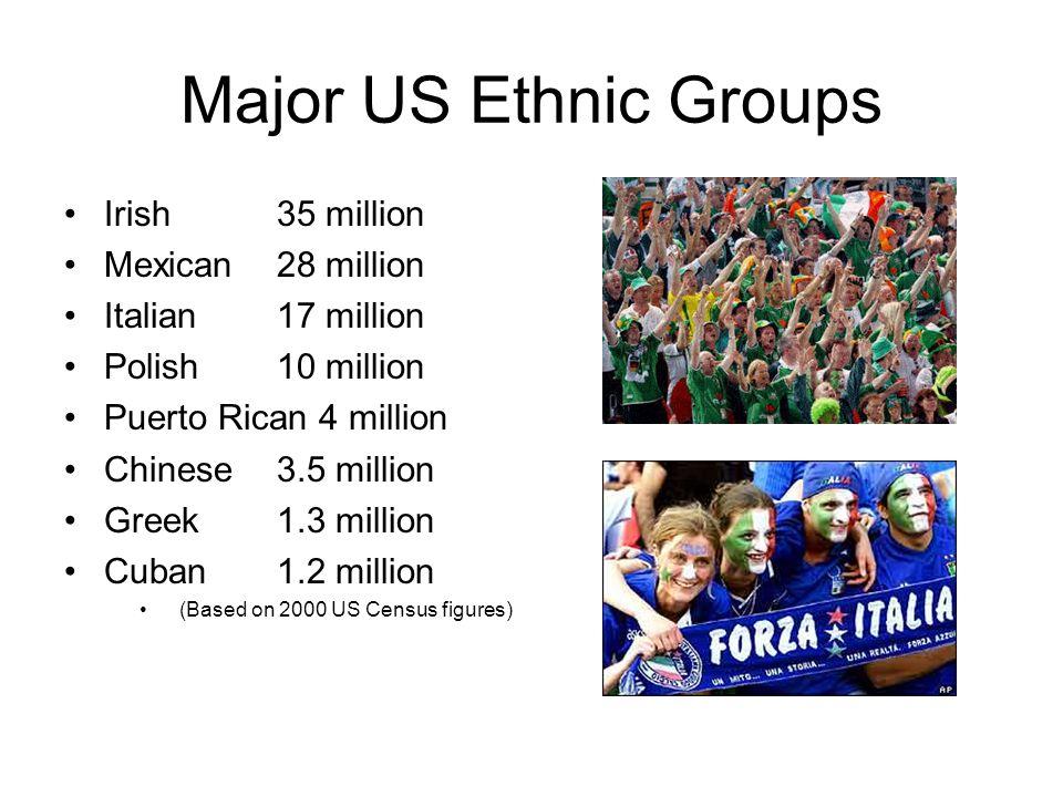 Major US Ethnic Groups Irish 35 million Mexican 28 million Italian 17 million Polish 10 million Puerto Rican 4 million Chinese 3.5 million Greek 1.3 million Cuban 1.2 million (Based on 2000 US Census figures)