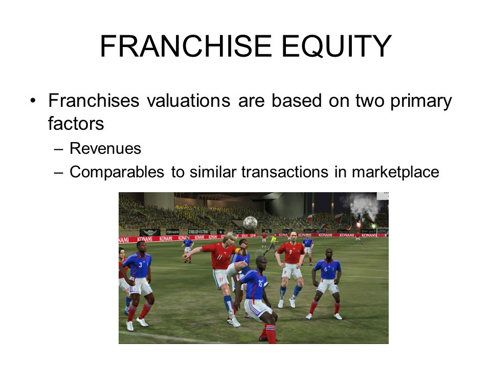 FRANCHISE EQUITY Franchises valuations are based on two primary factors –Revenues –Comparables to similar transactions in marketplace
