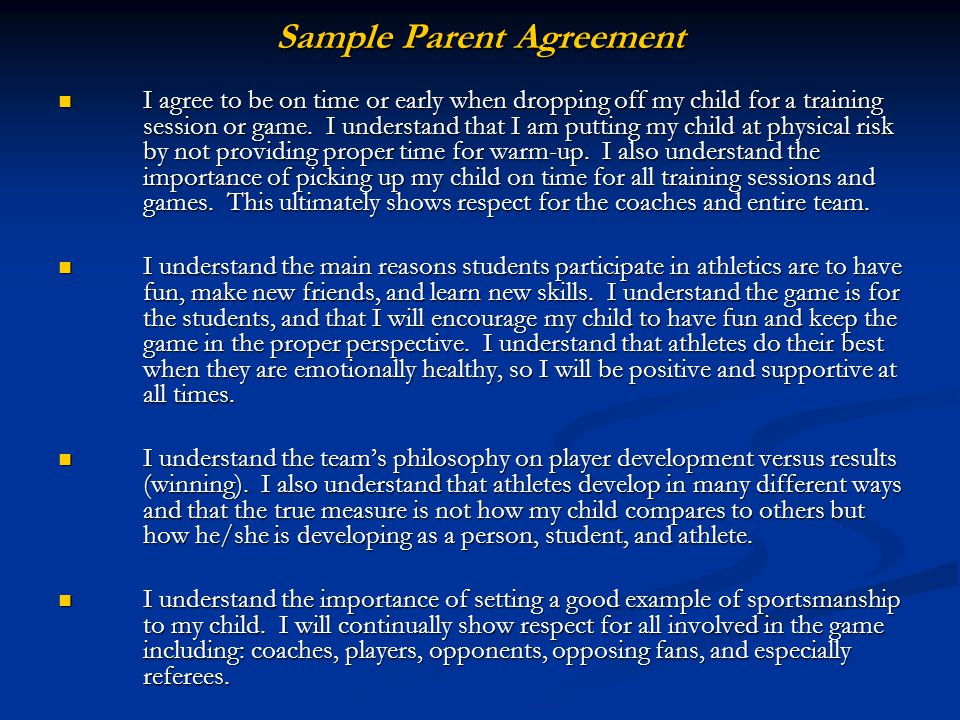 I agree to be on time or early when dropping off my child for a training session or game. I understand that I am putting my child at physical risk by