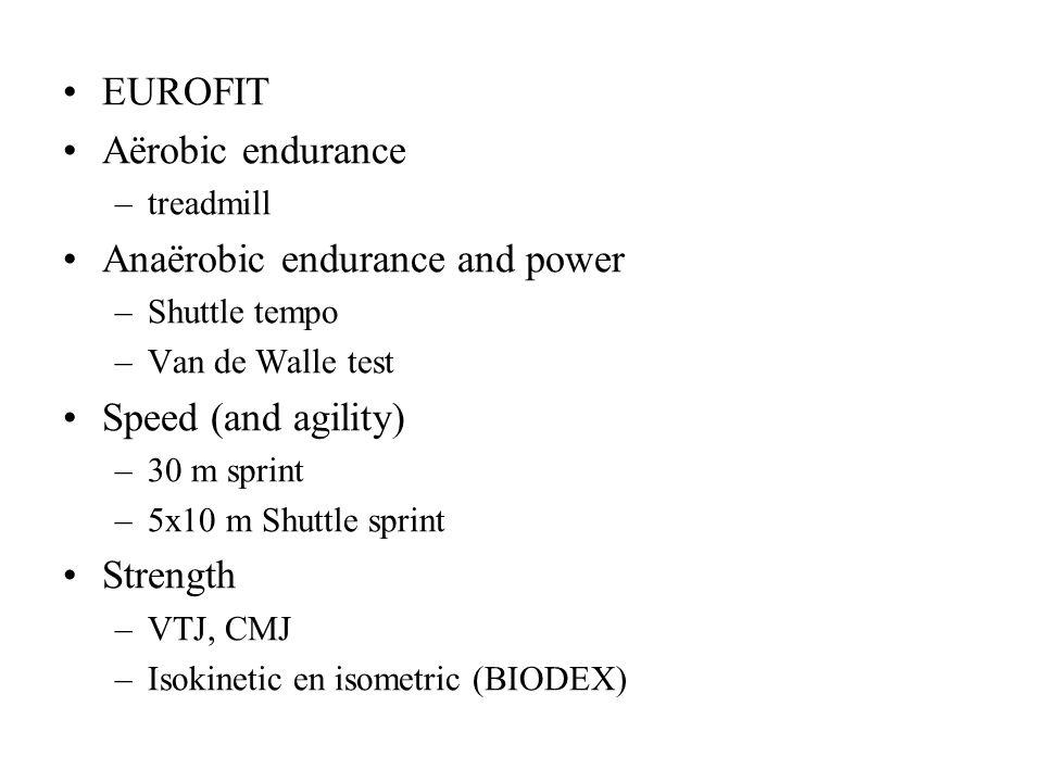 EUROFIT Aërobic endurance –treadmill Anaërobic endurance and power –Shuttle tempo –Van de Walle test Speed (and agility) –30 m sprint –5x10 m Shuttle sprint Strength –VTJ, CMJ –Isokinetic en isometric (BIODEX)