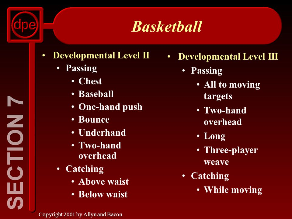 Copyright 2001 by Allyn and Bacon Basketball Developmental Level II Passing Chest Baseball One-hand push Bounce Underhand Two-hand overhead Catching Above waist Below waist Developmental Level III Passing All to moving targets Two-hand overhead Long Three-player weave Catching While moving