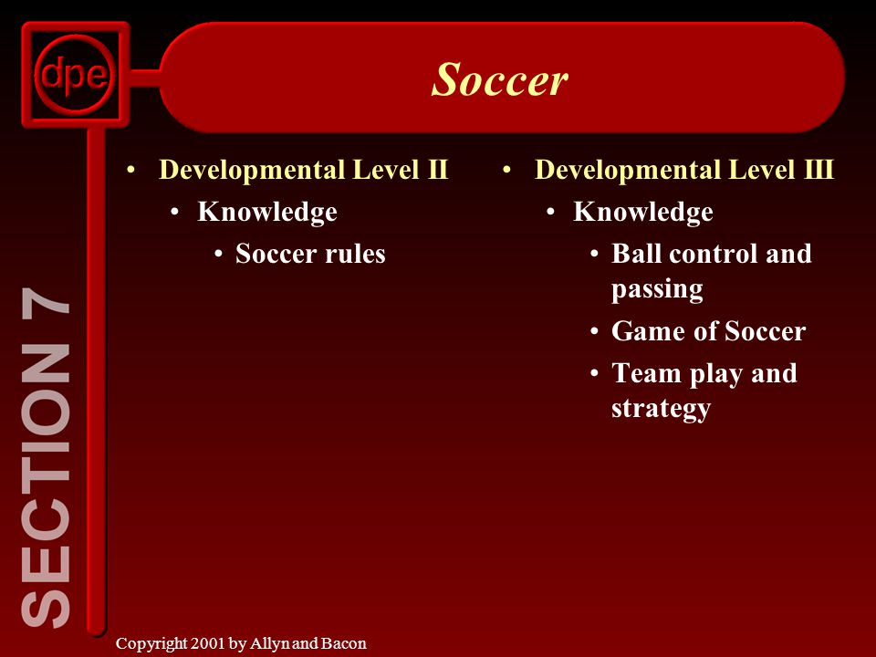 Copyright 2001 by Allyn and Bacon Soccer Developmental Level II Knowledge Soccer rules Developmental Level III Knowledge Ball control and passing Game of Soccer Team play and strategy