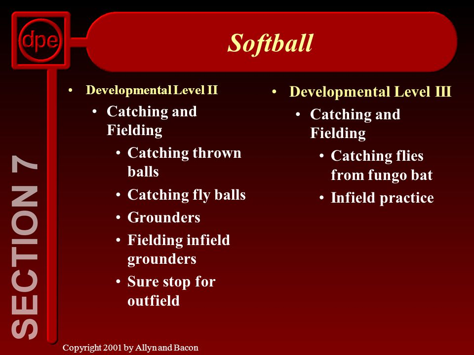 Copyright 2001 by Allyn and Bacon Softball Developmental Level II Catching and Fielding Catching thrown balls Catching fly balls Grounders Fielding infield grounders Sure stop for outfield Developmental Level III Catching and Fielding Catching flies from fungo bat Infield practice