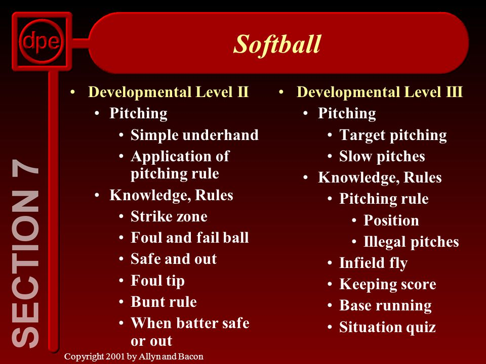 Copyright 2001 by Allyn and Bacon Softball Developmental Level II Pitching Simple underhand Application of pitching rule Knowledge, Rules Strike zone Foul and fail ball Safe and out Foul tip Bunt rule When batter safe or out Developmental Level III Pitching Target pitching Slow pitches Knowledge, Rules Pitching rule Position Illegal pitches Infield fly Keeping score Base running Situation quiz