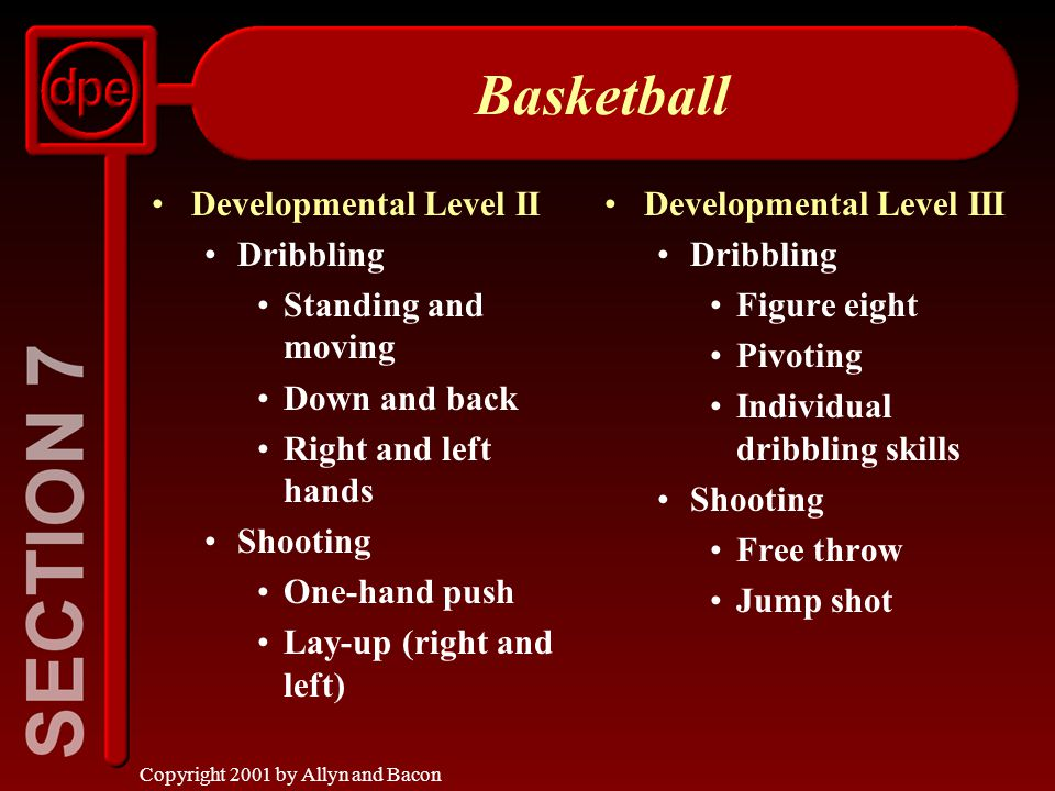 Copyright 2001 by Allyn and Bacon Volleyball Developmental Level II Skills Underhand serve Simple returns Knowledge Simple rules Rotation * Skilled players only Developmental Level III Skills Overhand pass Forearm pass Overhand serve Setup * Spike * Blocking * Knowledge Basic game rules Game strategy