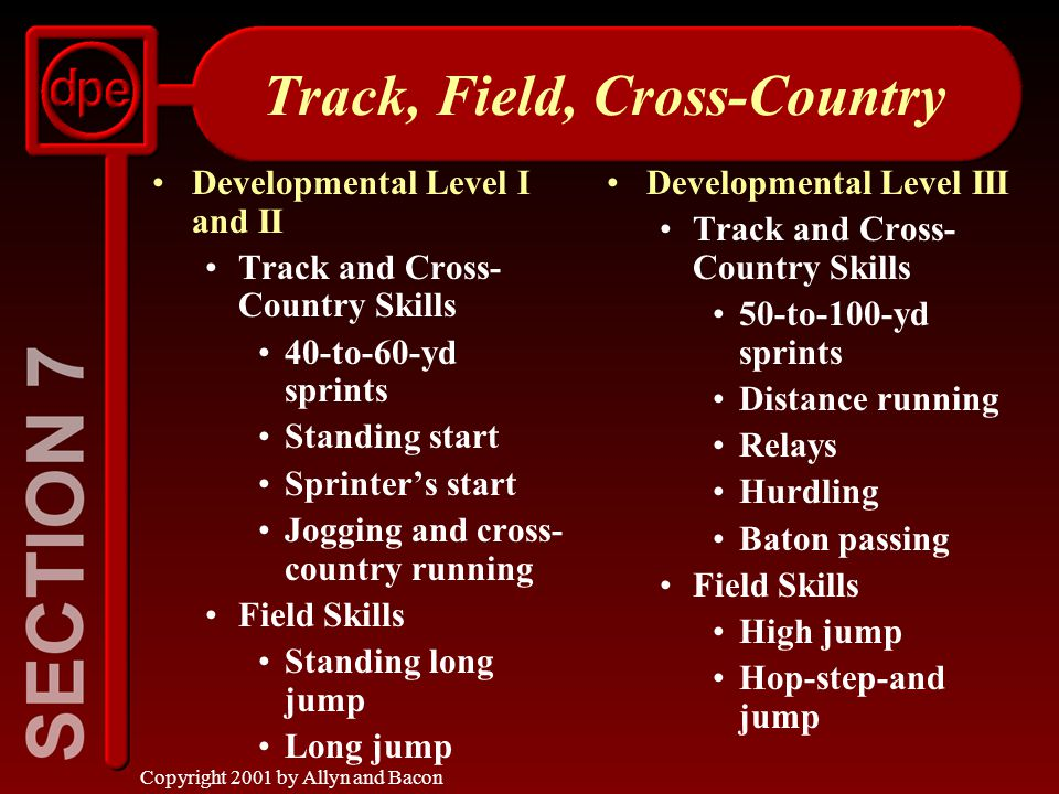 Copyright 2001 by Allyn and Bacon Track, Field, Cross-Country Developmental Level I and II Track and Cross- Country Skills 40-to-60-yd sprints Standing start Sprinter's start Jogging and cross- country running Field Skills Standing long jump Long jump Developmental Level III Track and Cross- Country Skills 50-to-100-yd sprints Distance running Relays Hurdling Baton passing Field Skills High jump Hop-step-and jump