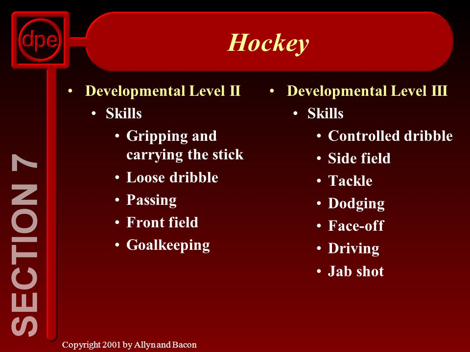 Copyright 2001 by Allyn and Bacon Hockey Developmental Level II Skills Gripping and carrying the stick Loose dribble Passing Front field Goalkeeping Developmental Level III Skills Controlled dribble Side field Tackle Dodging Face-off Driving Jab shot