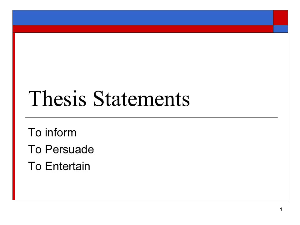 1 Thesis Statements To inform To Persuade To Entertain