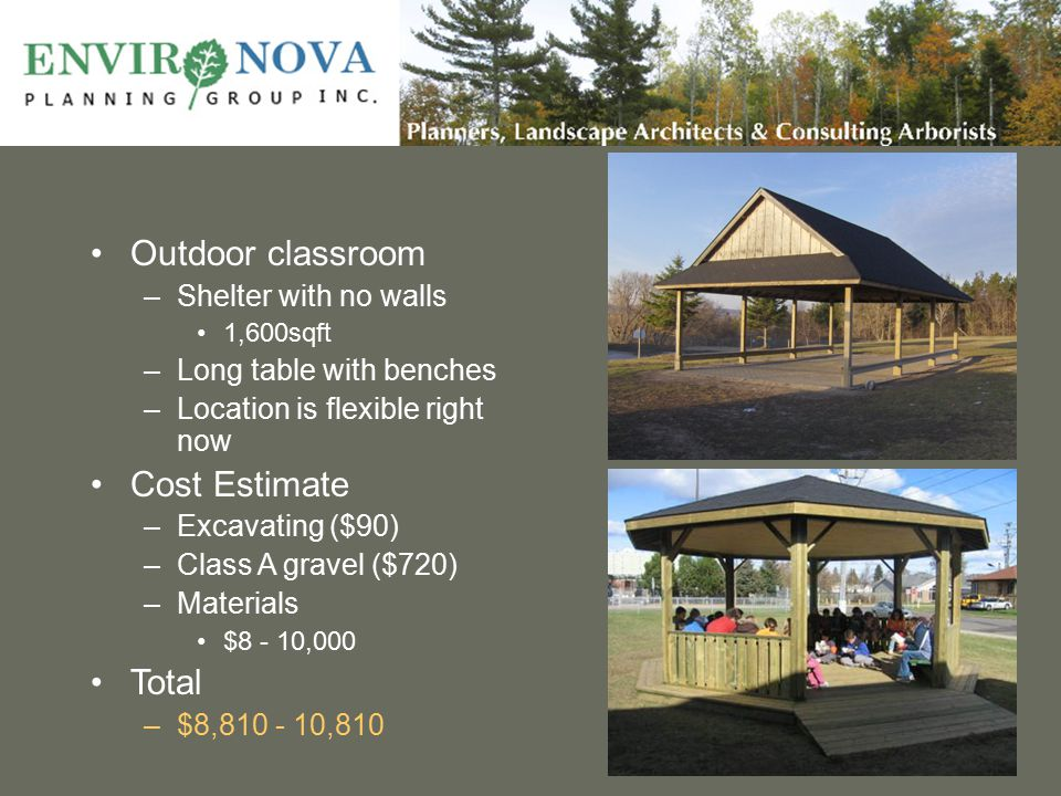 Outdoor classroom –Shelter with no walls 1,600sqft –Long table with benches –Location is flexible right now Cost Estimate –Excavating ($90) –Class A gravel ($720) –Materials $8 - 10,000 Total –$8,810 - 10,810