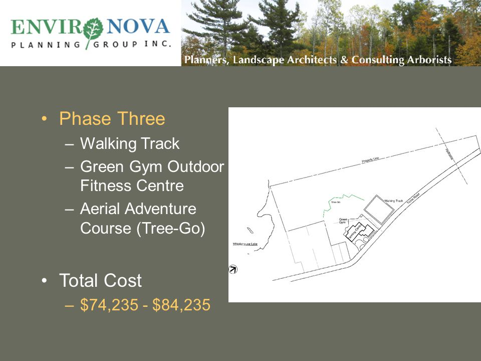 Phase Three –Walking Track –Green Gym Outdoor Fitness Centre –Aerial Adventure Course (Tree-Go) Total Cost –$74,235 - $84,235