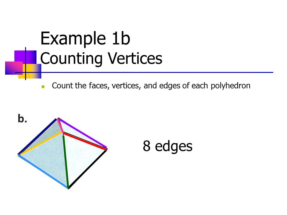 Example 1b Counting Vertices Count the faces, vertices, and edges of each polyhedron 8 edges
