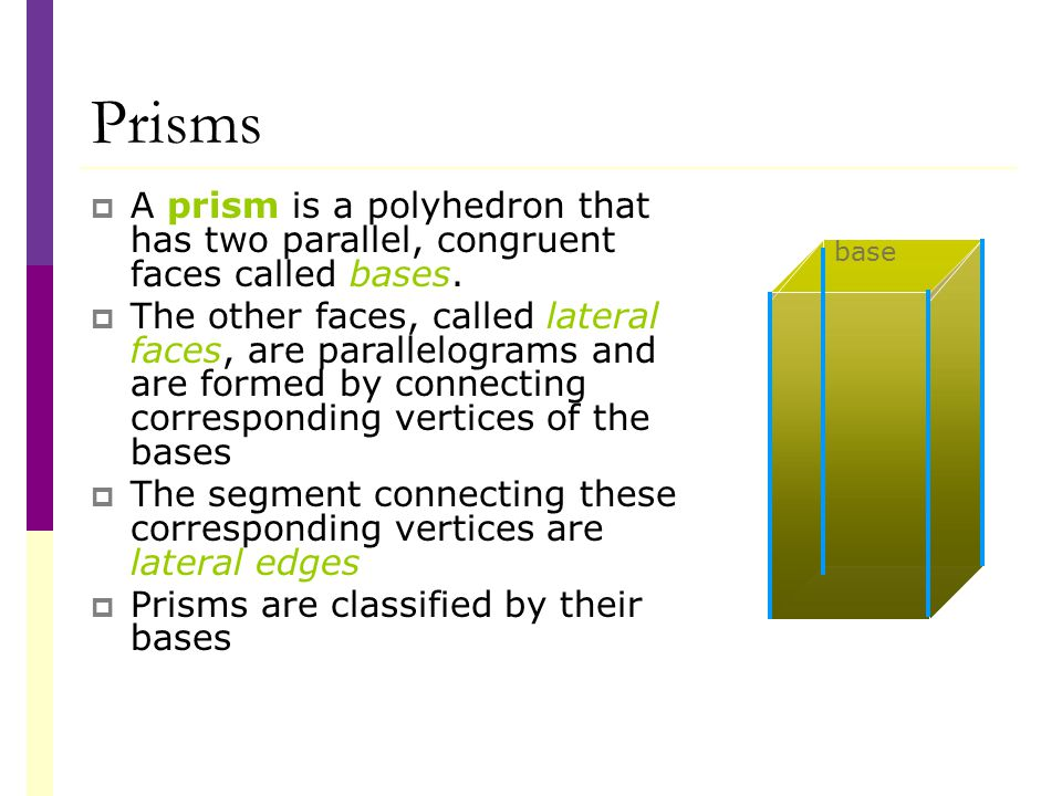 Prisms  A prism is a polyhedron that has two parallel, congruent faces called bases.