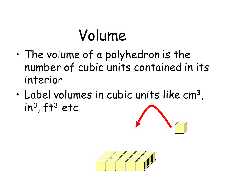 Volume The volume of a polyhedron is the number of cubic units contained in its interior Label volumes in cubic units like cm 3, in 3, ft 3, etc