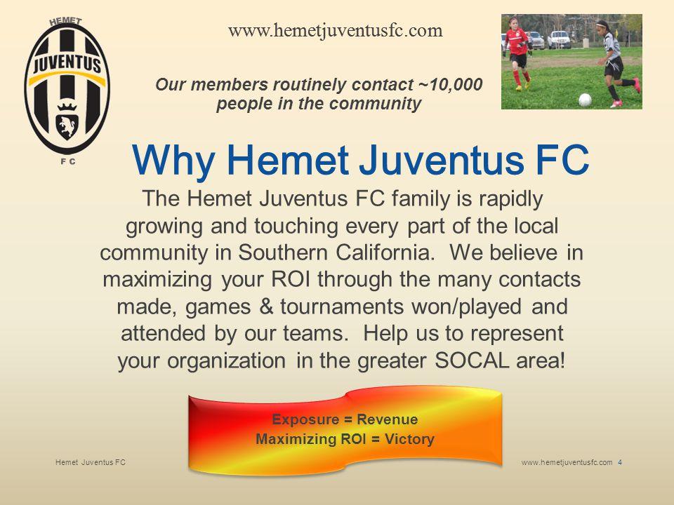 Hemet Juventus FCwww.hemetjuventusfc.com 5 www.hemetjuventusfc.com About Hemet Juventus FC Teams average between 12 and 15 players, each player usually has 6 immediate family members.