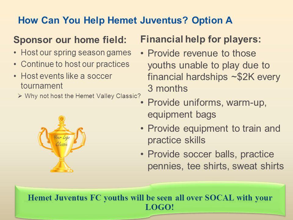 Hemet Juventus FCwww.hemetjuventusfc.com8 How Can You Help Hemet Juventus.