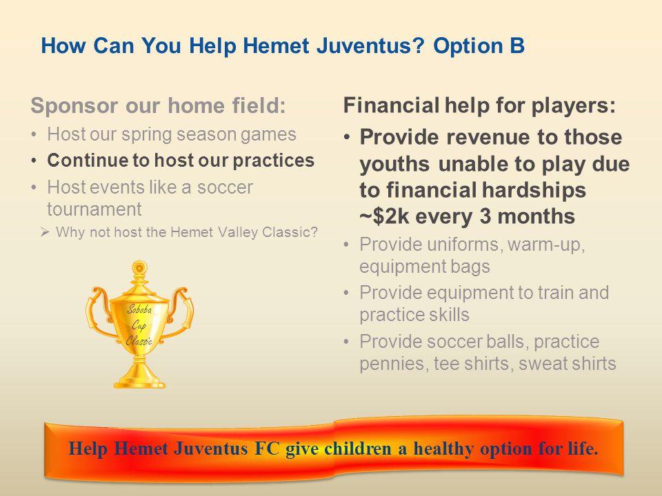 Hemet Juventus FCwww.hemetjuventusfc.com9 How Can You Help Hemet Juventus.