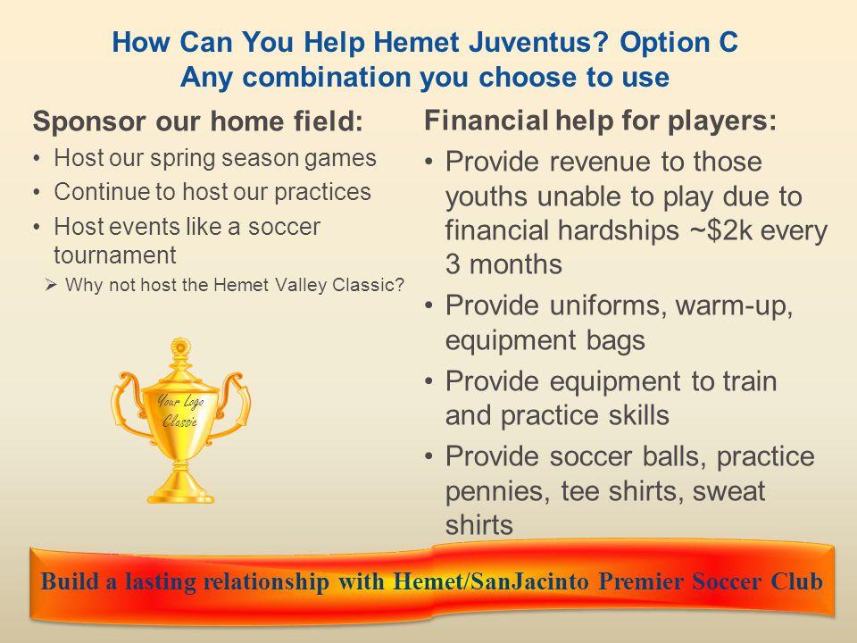 Hemet Juventus FCwww.hemetjuventusfc.com10 What will Hemet Juventus do for you.