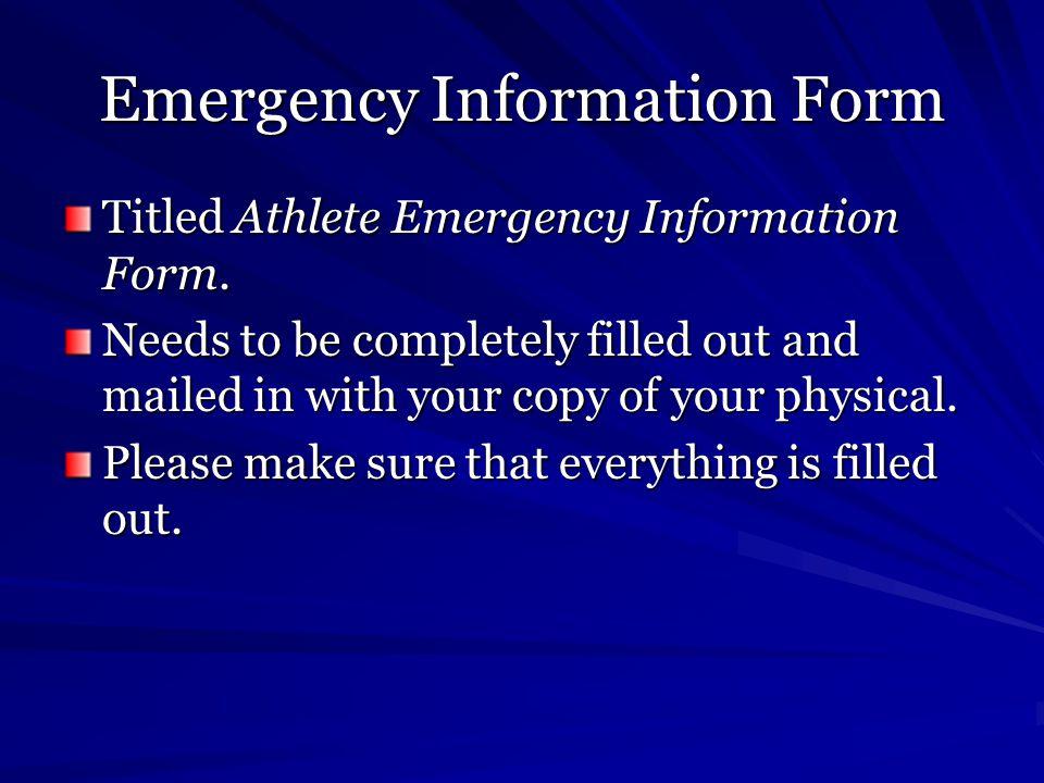Emergency Information Form Titled Athlete Emergency Information Form.