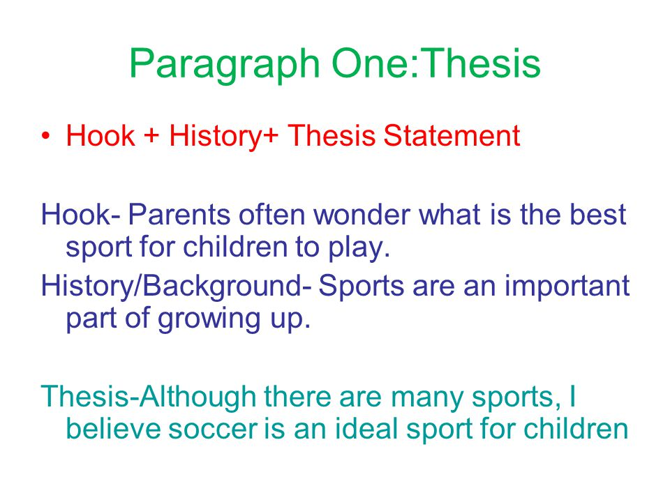 Paragraph One:Thesis Hook + History+ Thesis Statement Hook- Parents often wonder what is the best sport for children to play.