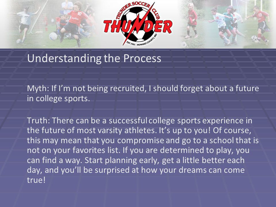 Understanding the Process Myth: If I'm not being recruited, I should forget about a future in college sports.