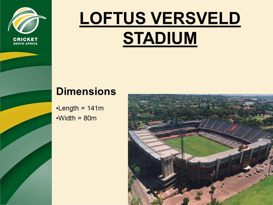 LOFTUS VERSVELD STADIUM Dimensions Length = 141m Width = 80m