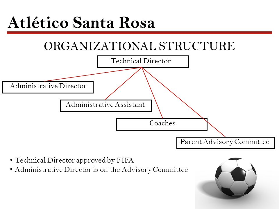 Atlético Santa Rosa ORGANIZATIONAL STRUCTURE Technical Director Administrative Director Administrative Assistant Coaches Parent Advisory Committee Technical Director approved by FIFA Administrative Director is on the Advisory Committee